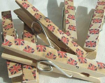 Union Jack, Vintage Union Jack, fridge magnet set, note holder, british flag, London magnet, Clothes Peg, Clothes pin, Magnetic Note Holder