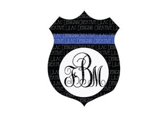 Police Badge Monogram Cut File