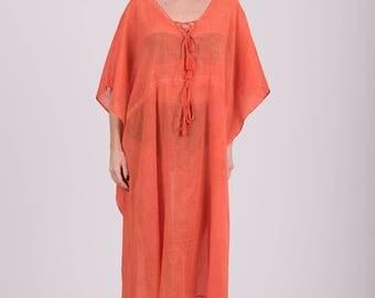 Long Cotton kaftan with adjuster & tassels,Plus Size Dress,Hippie Dress,Free Size Beach Wear,Summer Caftan,Beach Cover Up Dress,Boho Dress,