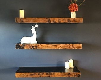 "Barnwood Floating shelves - 36"" Floating shelf - Rustic shelves - Dispaly shelves - 36""x10""x3"" - (Price is for one shelf)"