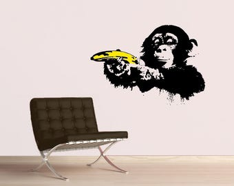 BANKSY MONKEY With WARHOL Banana Wall Decal, Popart, Sticker, Street Art,  Urban