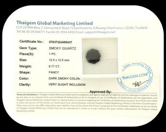 Certified 6.77 CT Dark Smoky Quartz  VERY Slight Inclusion Clarity Octagon Shape 12.5 MM X 12.5MM