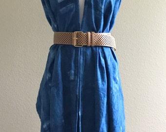 Linen Ruana Wrap, Indigo Ruana, Shibori Ruana poncho, Blue Ruana, Linen Ruana Shawl, linen blanket Scarf, Blue Ruana Wrap, linen wrap shawl