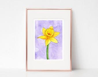Daffodil, Daffodils Art Print, Daffodils, 5x7, Flower art, Spring flowers art print, Daffodil watercolor