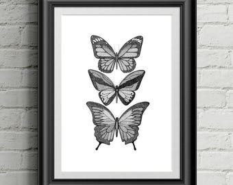 Butterfly Print / Butterflies / Dotwork / Art Print / Black and White/ Wall Art / Wall Decor