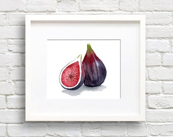 Fig - Art Print - Kitchen Art - Wall Decor - Watercolor Painting