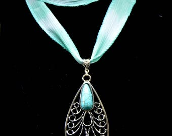 Teardrop  Faux Turquoise   Pendant Necklace