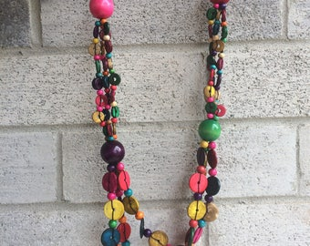 Wooden  Necklace, Wood Necklace, Handcrafted wooden Necklace, Colorful wooden Necklace
