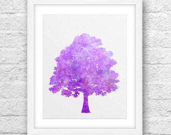 Tree Art, Abstract Tree, Tree Violet-Pink , Tree Violate-Purple-Pink, Tree Printable, Tree 8x10, Modern Tree, Nature Art,8x10 Printable