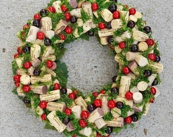 Cranberry and Moss Wine Cork Wreath 12-14""