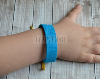 FREE SHIPPING - Children's Suede Friendship Bracelet - Turquoise - Children's Leather Bracelet