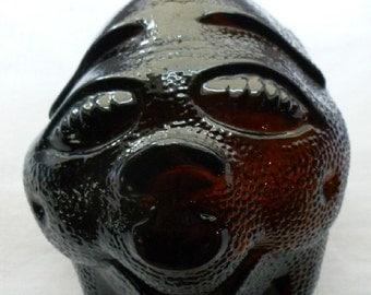 Vintage Dark Amber Glass Piggy Bank, Smiling Pig Coin Bank