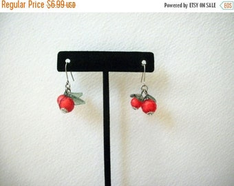 ON SALE Vintage Dainty Cherry Molded Faceted Plastic Earrings 30217