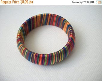 ON SALE Retro Silk Wrapped Around Colorful Chunky Bangle 31317