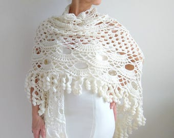 On Sale, crochet shawl, ivory wrap, wedding shawl, bridal shawl, cream shawl, crochet shawl, gift for her, fast shipping, READY TO SHİP