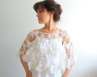 Wedding poncho, summer poncho, crochet white wrap, lacy poncho, bridal stole, wedding poncho, gift for her, fast shipping, ready to ship