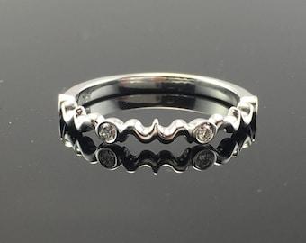 White Gold Dainty Filigree Style and Diamond Wedding Band- 18K White Gold Vintage Inspired Diamond Wedding Ring- Scroll Design Diamond Ring