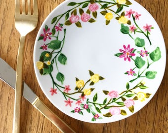 Spring time Floral hand painted plate