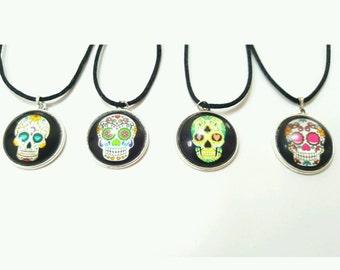 Sugar skull necklace, sugar skull jewelry, day of the dead jewelry, day of the dead necklace, festival jewelry