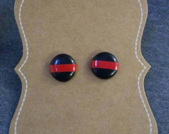 Thin Red Line Earrings