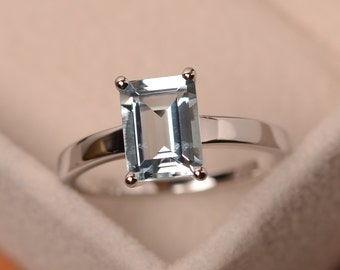 Natural aquamarine ring, solitaire ring, sterling silver, blue gemstone, engagement ring, emerald cut