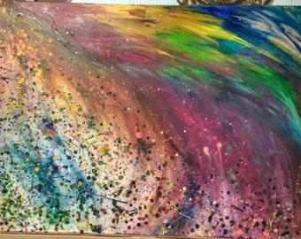 Organic rainbow transitions original oil painting