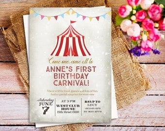Carnival themed party invitation, Carnival Birthday Invitation, circus birthday invitation, vintage circus carnival invitation, kid's party