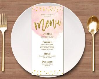 Printable Watercolor Wedding Menu, Gold Menu Template, Printable Wedding Menu Card, Peach Menu Card, Mint Menu Card, Pink Menu Template
