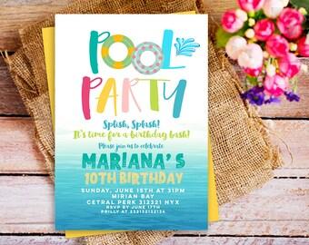 pool party invitation, splish splash birthday invitation, Girls Pool Party Invitation, Swimming Pool Birthday invite, summer birthday invite