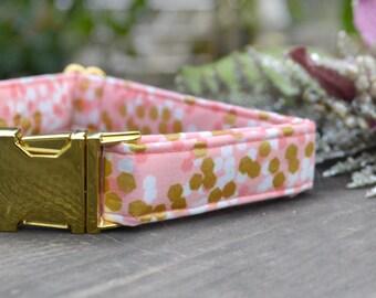 Isabella. Dog Collar, Female, Gold Metallic, Pink, Gold Hardware, Metal Hardware