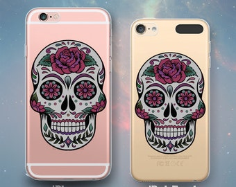 Sugar Skull Dia de Los Muertos Calavera Day of the Dead Mexico Clear Rubber Case for iPhone 7 6s 6 Plus iPhone SE 5s 5 5c iPod Touch