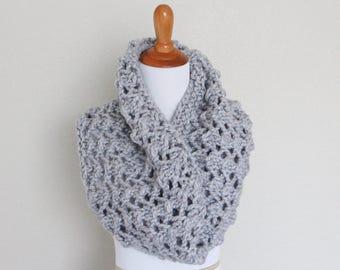 Chunky Knit Cowl, Chunky Knit Scarf, Silver Grey, Diamond Cowl