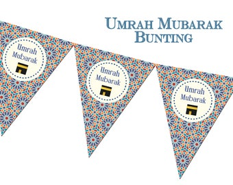 Umrah Mubarak Zellige Bunting, Decorations, Decor, Banners, Party Muslim Festival