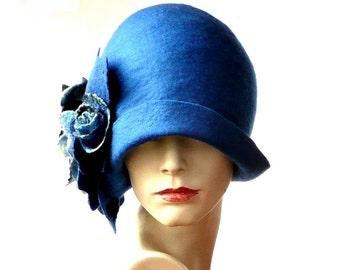 Blue Felted  Hat felt hat Cloche Hat Flapper 1920 Hat Art Blue Hat Cloche Victorian 1920's  Wool Women's hat