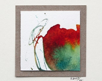 Miniature (35), watercolor, abstract art, small gift, minibild, red, square image, original painting, minimalistic,unique,small,image