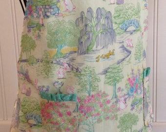 Summer Sale Daughter apron, Aqua toile, child's full apron, full apron, bunny toile, aqua ruffle trim, aqua dot, Ruffled pockets, Mother dau
