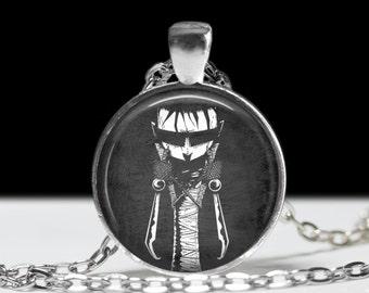 "Johnny the Homicidal Maniac JTHM Necklace - Black and White Comic Book Jewelry - Punk Hardcore Gothic Nerd Dork - 1"" Silver & Glass Pendant"