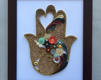 Beautifully Gold Quilled Hamsa in Frame