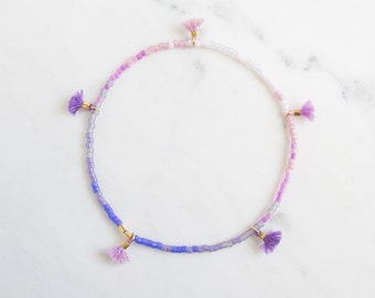 Violet Ombre tiny tassel, delicate beaded friendship bracelet