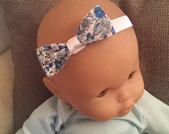 Baby girl ditsy fabric flower headband Blue white bow white headband