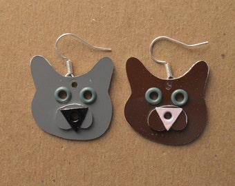 Kitty Cat Pet Lover Dog Metal Earrings Jewelry