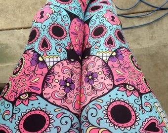 Sugar Skull Leggings - Workout Leggings - Fitness Tights