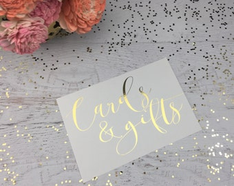 Wedding Cards Table Sign- Wedding Gift Table Sign- Wedding Cards and Gifts Sign- Gild Wedding Cards Sign- Wedding Gift Decor- Gold Wedding