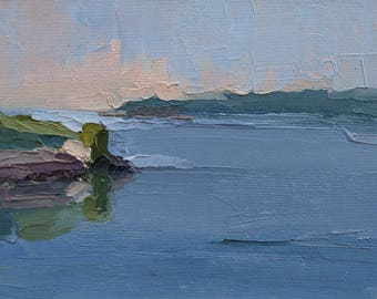 Lake Reflections, Original plein air palette knife landscape painting on 4x6 canvas board.