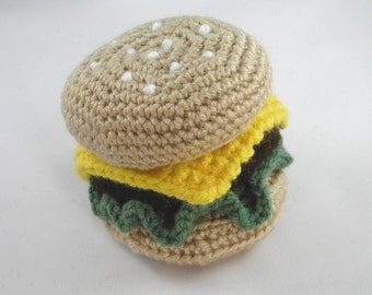 Crochet Hamburger/Crochet Cheeseburger/Amigurumi Hamburger/Crochet Food/Stuffed Hamburger/Play Food/Toy Hamburger/Crochet Fast Food