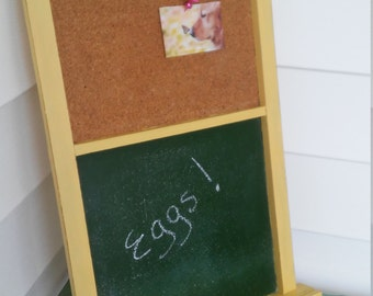 A Vintage Wood Primitive Chalk board And Cork board Wall Hanging Message Center, Up-Cycled In Maize Yellow