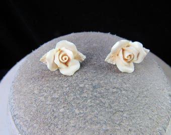 Vintage Off White Porcelain Rose Pierced Stud Earrings