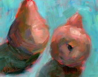 Original oil painting of two pears by Margot Dedrick 6x6, still life, fine art, turquoise, coral, fruit