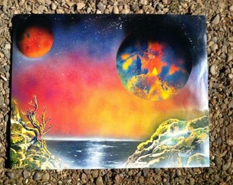 Primary planets Spray paint art