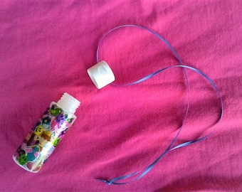 Kawaii Princess-Cat-Butterfly Shiny Sticker Covered Repurposed Paint Bottle/Container Necklace